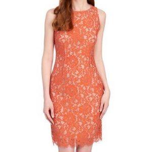 Nicole Miller Studio Orange Lace Dress New